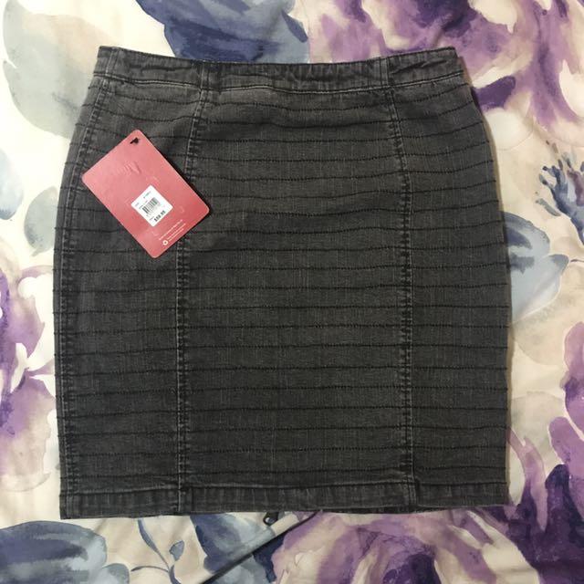 Kenji Washed Black Denim Mini Skirt