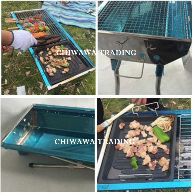 Large Size Stainless Steel Bbq Grill Charcoal Barbecue Set 73 X 35 70cm Peralatan Dapur Di Carou