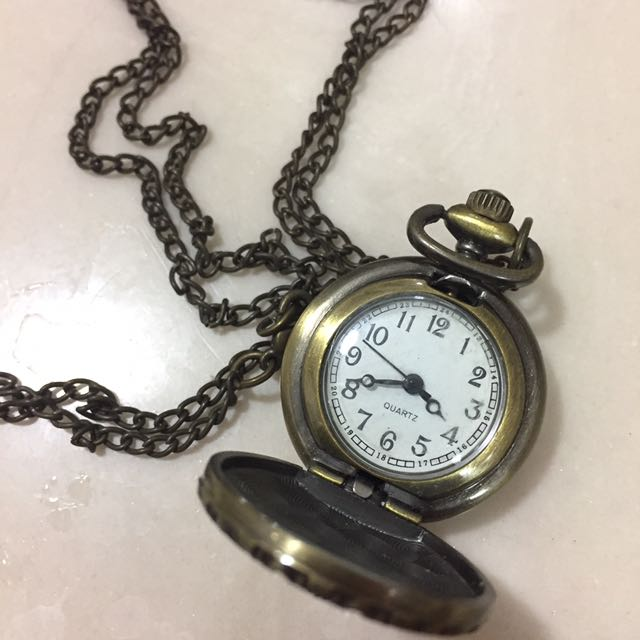Long Necklace With Watch Pendant