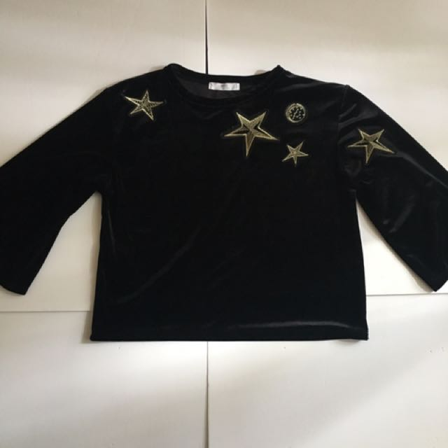 MANGO Black Velvet Blouse