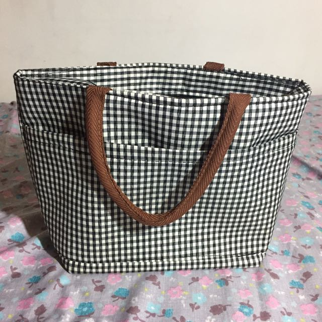 Miniso Checkered Stripes Lunch Bag