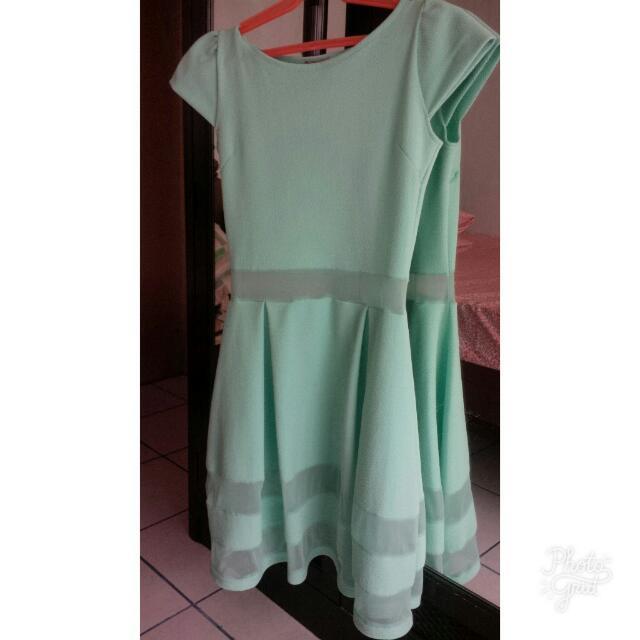 Mint Green See Through Dress