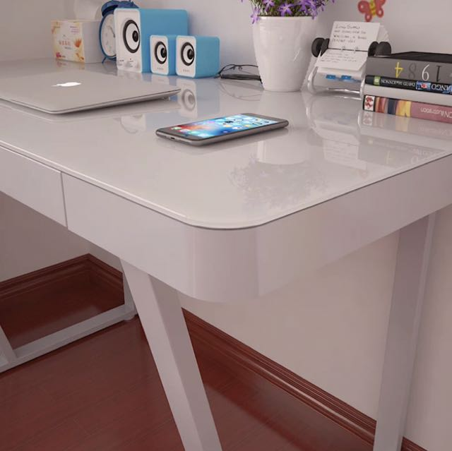 Modern/minimalist Study Table With Tempered Glass Top, Home U0026 Furniture,  Furniture, Tables U0026 Chairs On Carousell