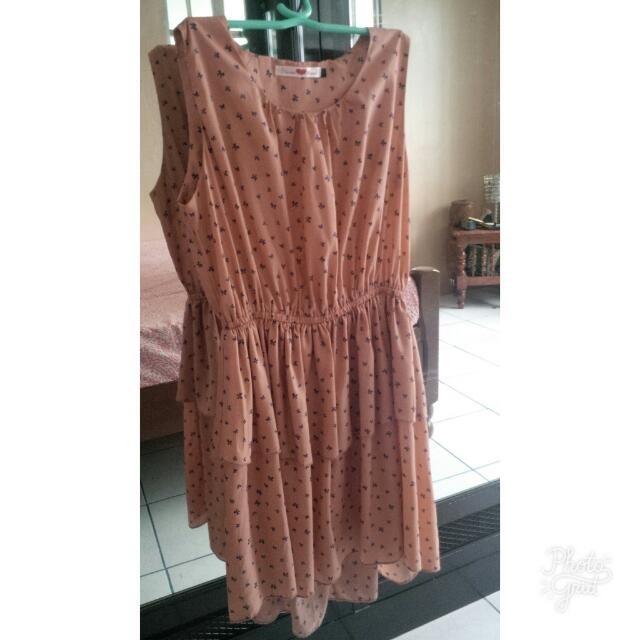Never Been Kissed Ribbon Patterned Pink Dress