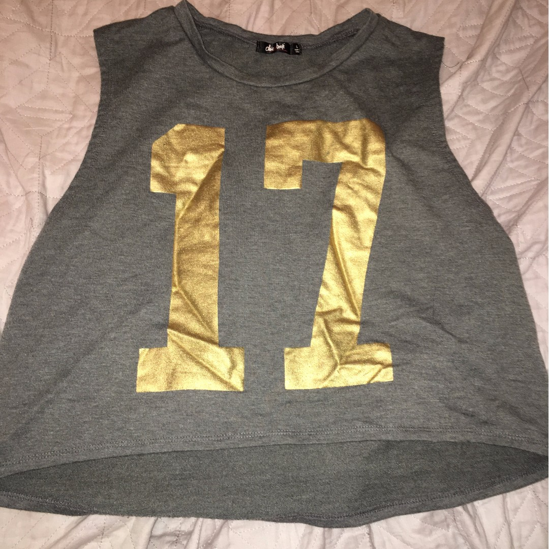 Number 17 Gold/Grey Crop Top