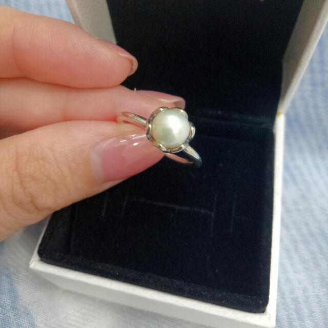 Pandora Silver Pearl Ring