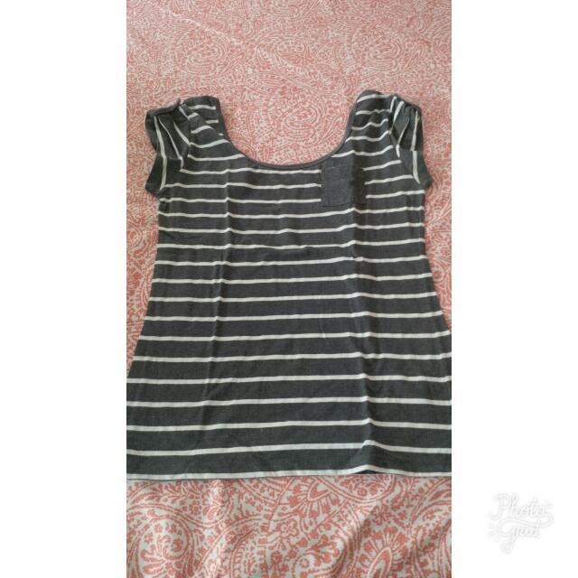 Penshoppe Striped Black and White Hollow Shirt