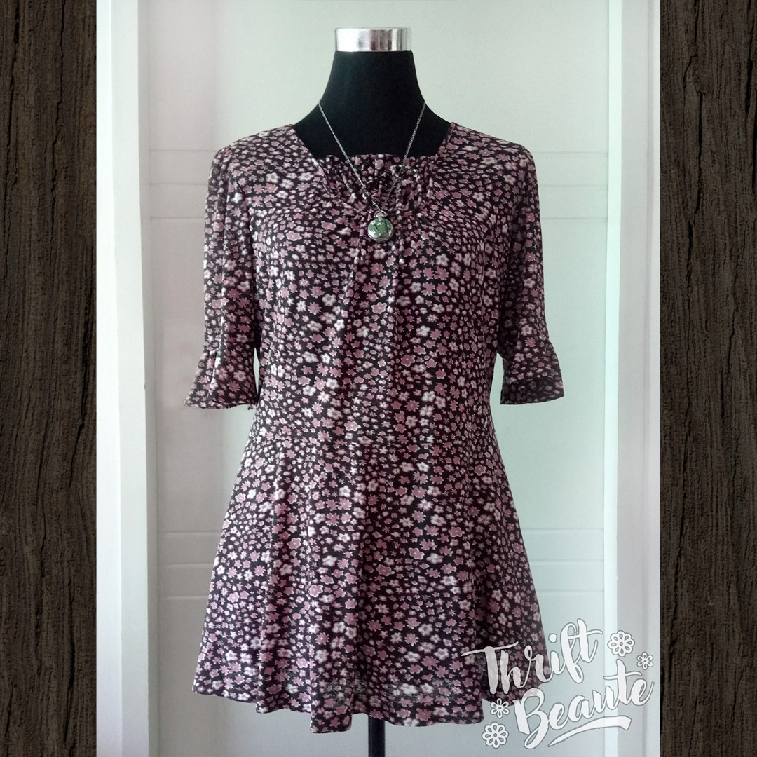 PInk & Black Floral 3/4 Sleeve Shift Dress