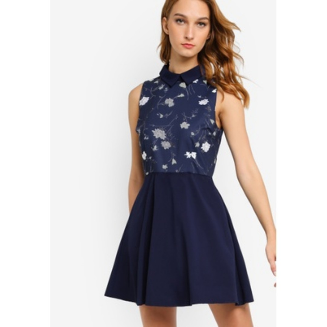 Zalora Printed Fit and Flare Dress