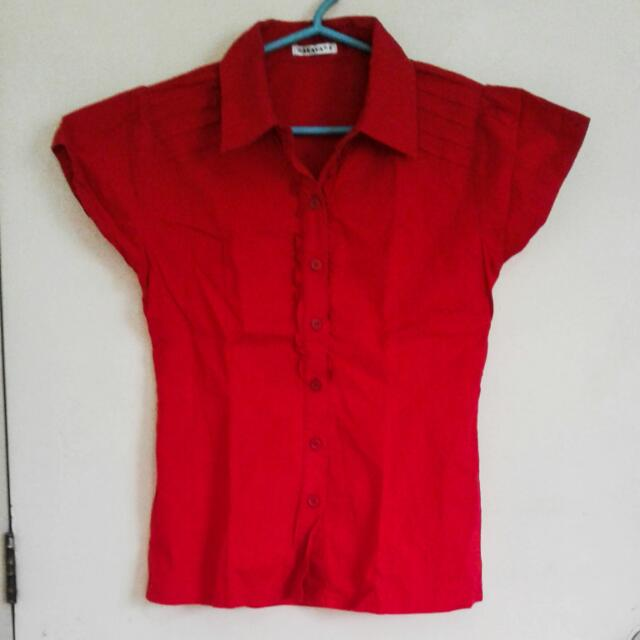 Red Button Down Polo