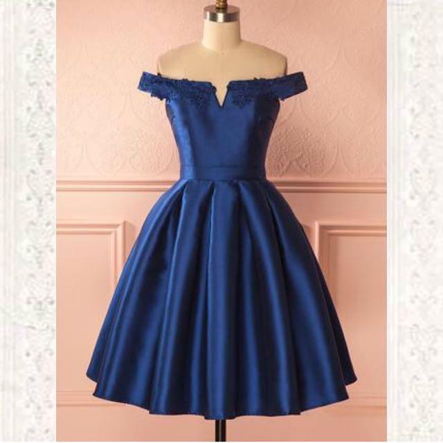 Sapphire Blue off-the-shoulder dress