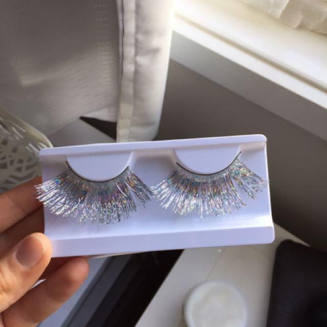 Silver Holographic False Eyelashes