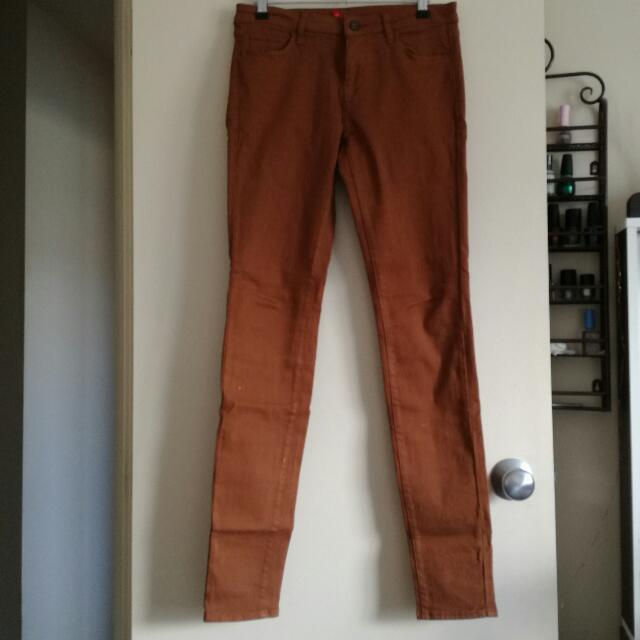 Skinny Fit Tan Jeans