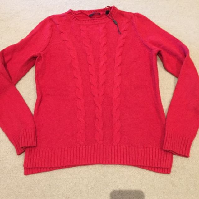 Sprit Knitwear Large. Cotton And Wool. Red Jumper