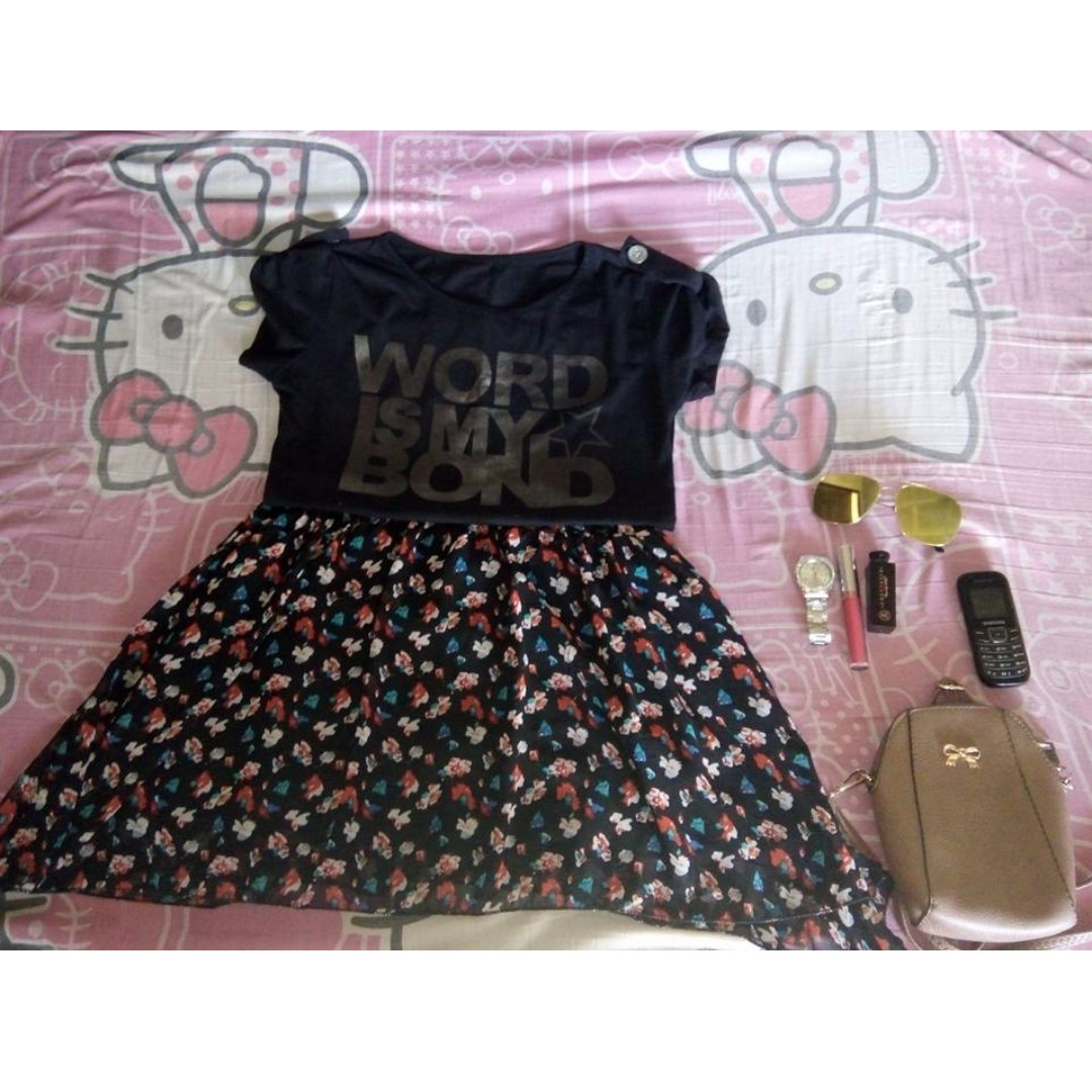Terno BLACK TOP AND FLORAL SKIRT 😍