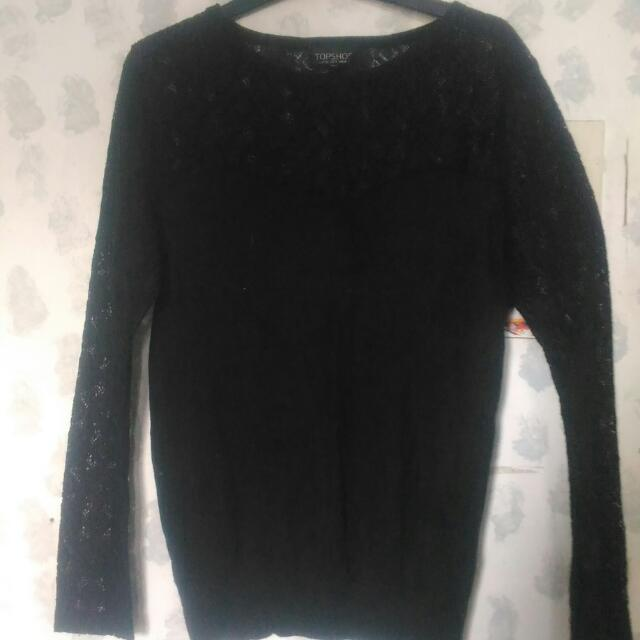 Topshop Longsleeve With Lacey Details (S - M)