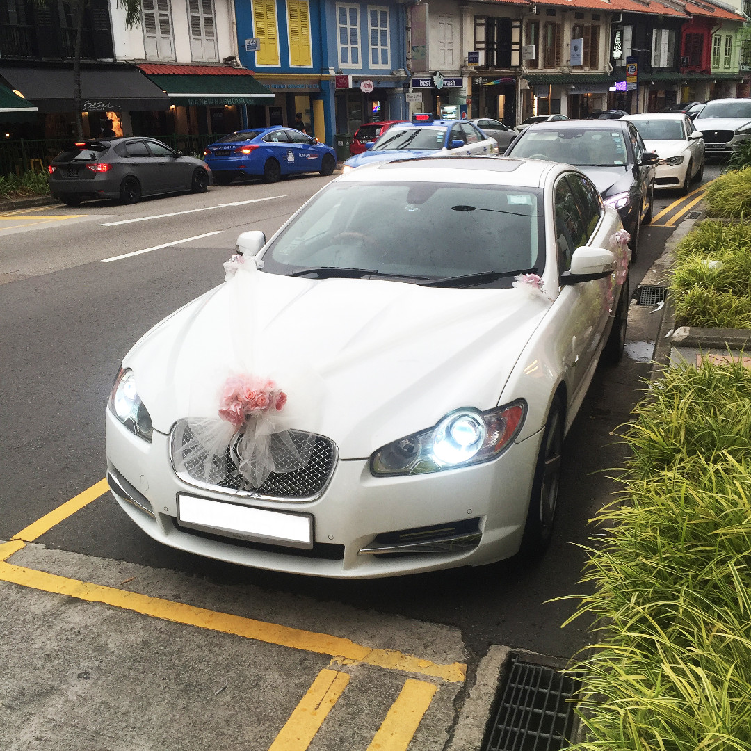 Amazing Wedding Car Rental Premium Luxury Jaguar XF Pearl White Chauffuered  Limousine, Cars, Vehicle Rentals On Carousell