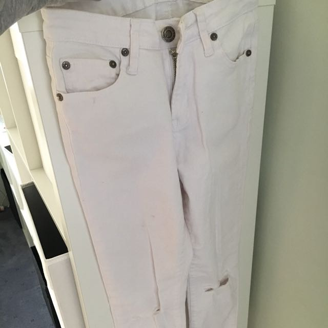 White Mid Rise Denim Jeans