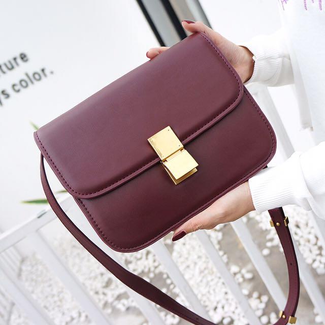 WINE RED CELINE BOX INSPIRED CROSSBODY BAG