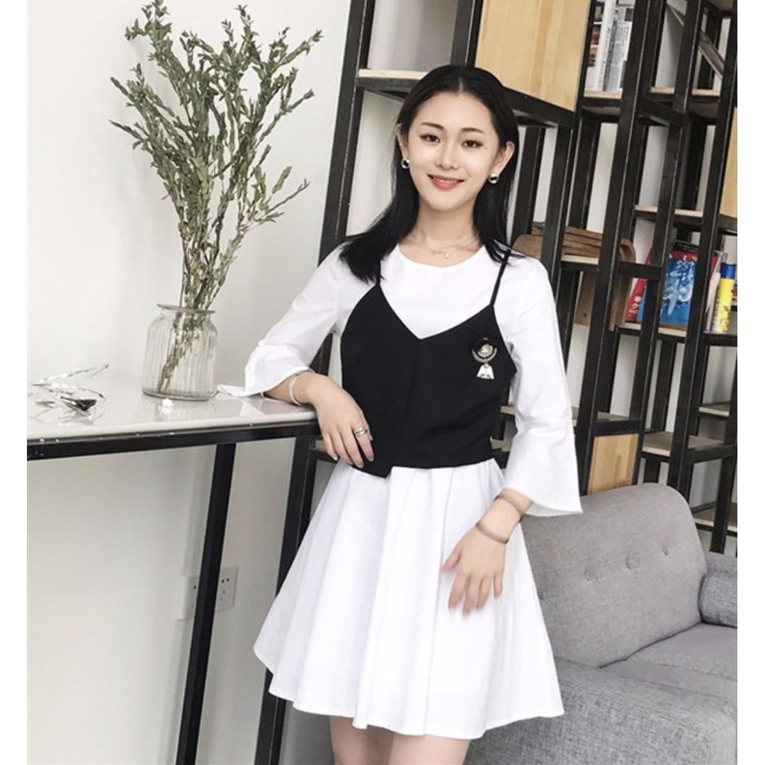 WST 18211 Fake 2pcs Brooch Dress (WHITE)