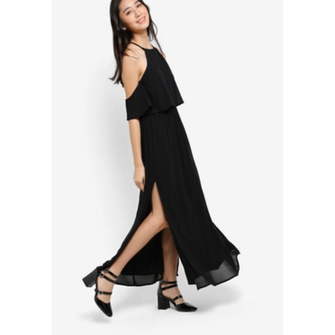 Zalora Long Black Cold Shoulder Dress