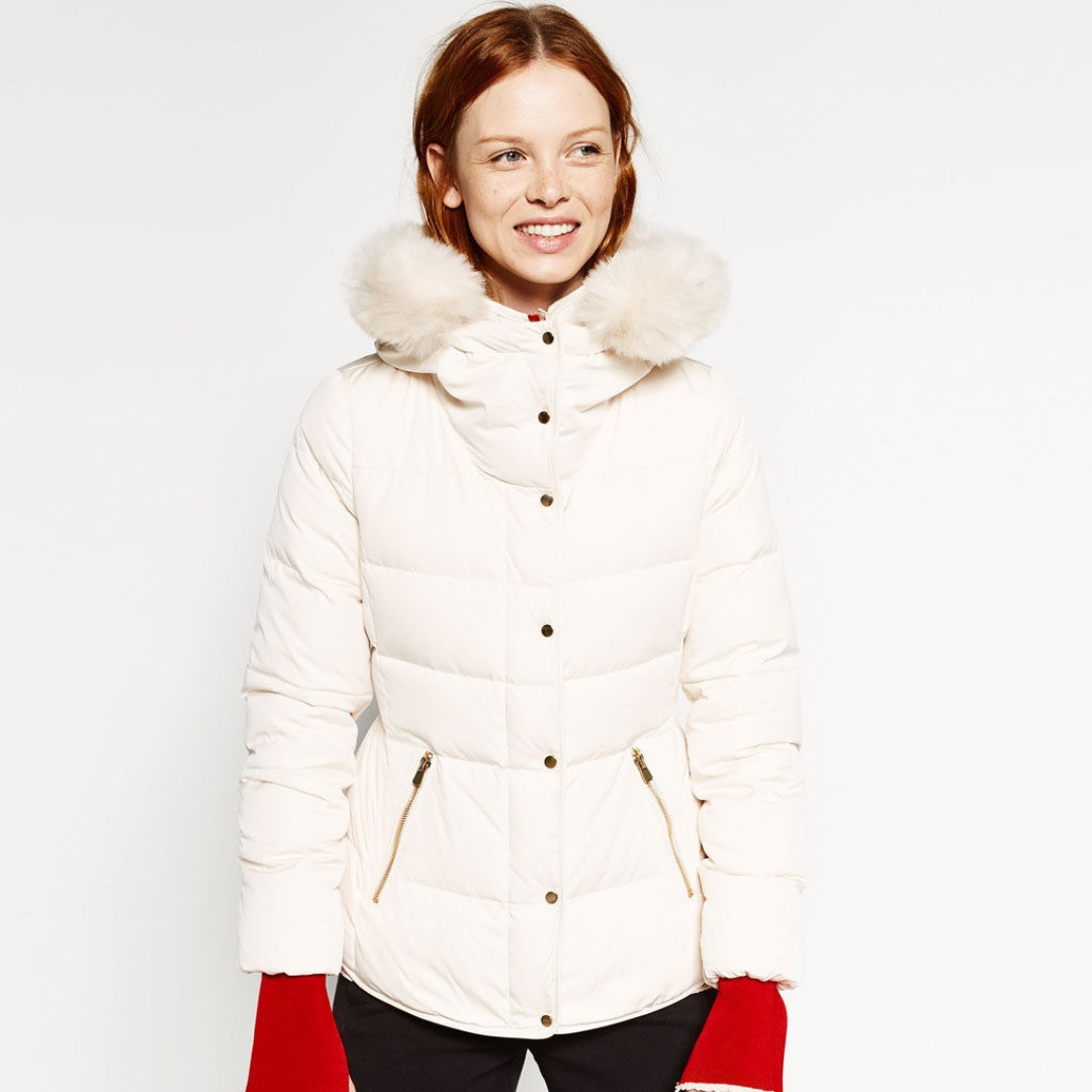 ZARA Cream Quilted Down Puffer Jacket Anorak Fur Hood XSmall 8 Worn Once RRP $169