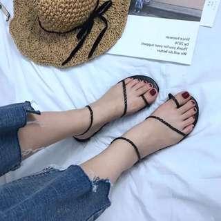 涼鞋 編織 羅馬