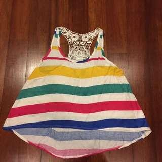 Forever 21 Striped Crochet Tank