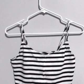 Top Shop Black & White Striped Crop Top