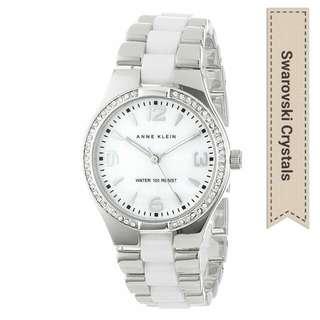 Anne Klein Swarovski Crystal-Accented Ceramic Watch