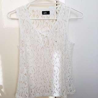 Dotti Size S White Lace Top