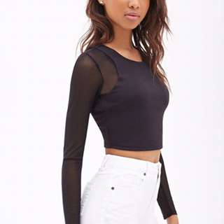 FOREVER 21 Mesh Long Sleeve Crop Top