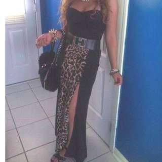 Leopard Maxi Skirt w/ Slit