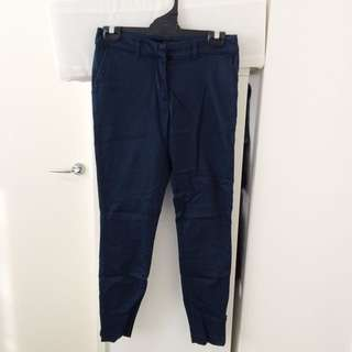Glassons Size 6 Navy Skinny Ankle Biter Pants With Pockets