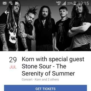 Electronic Tickets KORN & STONE SOUR Serenity Of Summer Tour