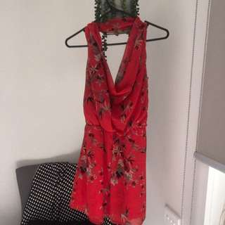 Red Drape Back And Front Dress