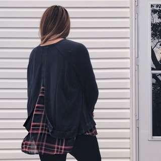 4X Split Back Raglan Sweater With Chiffon