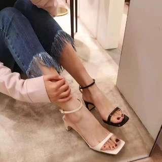 ALICE SELECT 韓國製造 小羊皮 高跟涼鞋 一字繫帶 修腳 白 /裸/ 黑