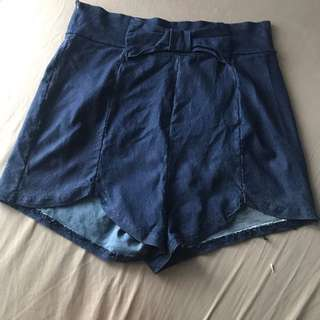 Denim-like High Waist Shorts