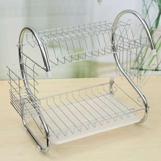 2-Layer Dish Drainer Drying Rack Kitchen (Silver)