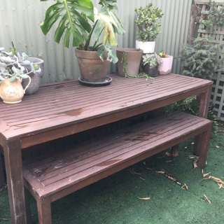 Outdoor Bench Table
