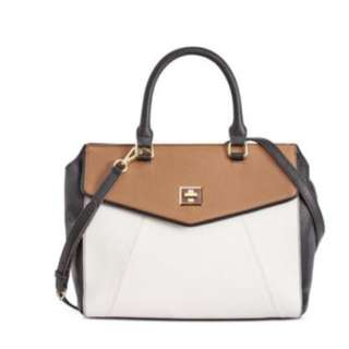 Anne Klein Women's Timeless Choice Satchel Cognac/Black Handbag
