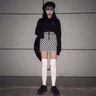 黑白棋盤格紋A字裙