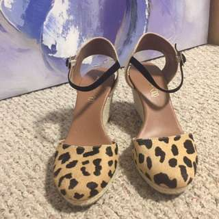 ALDO genuine Leather Leopard Wedges