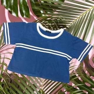 Blue & White Striped Crop top