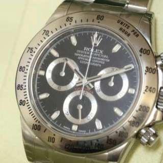 Rolex Daytona 黑面 116520 全套410大阪買¥1305000... 手錶帶少少花
