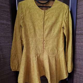 Blouse Batik Yellow Peplum