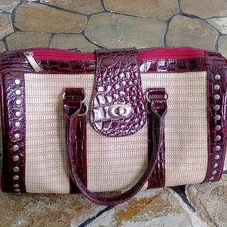 Tas Fashion Tote Bag Kulit Buaya Sintetis (Import)