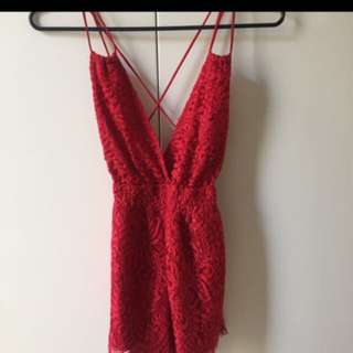 Red Lace Playsuit
