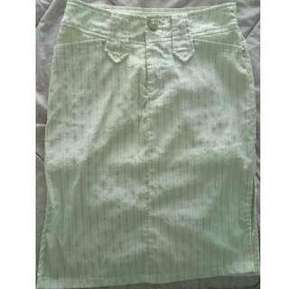 White Stripes Formal Skirt